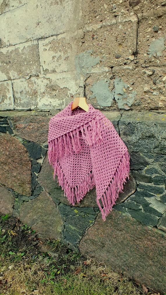 Crochet Shawl Baktus ScarfMuffler Dark Red Crimson Knitted Triangle Shoulder NeckwearNeck warmerStoleCloth