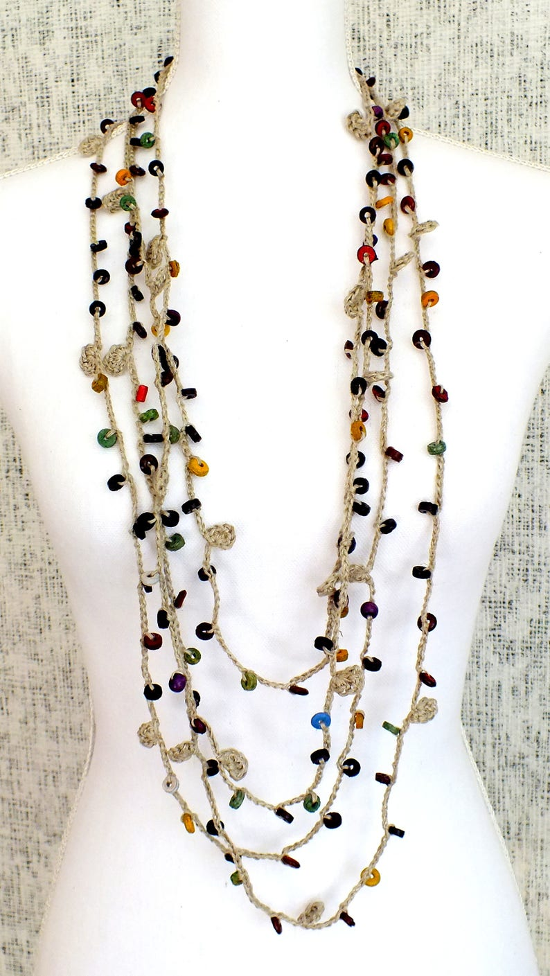 Colorful boho necklace Crochet jewelry Cute accessory Free people Gift for girlfirend Long beaded multistrand trendy gift Bohemian style