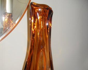 Antique vase, solid glass ,color amber, 1950s