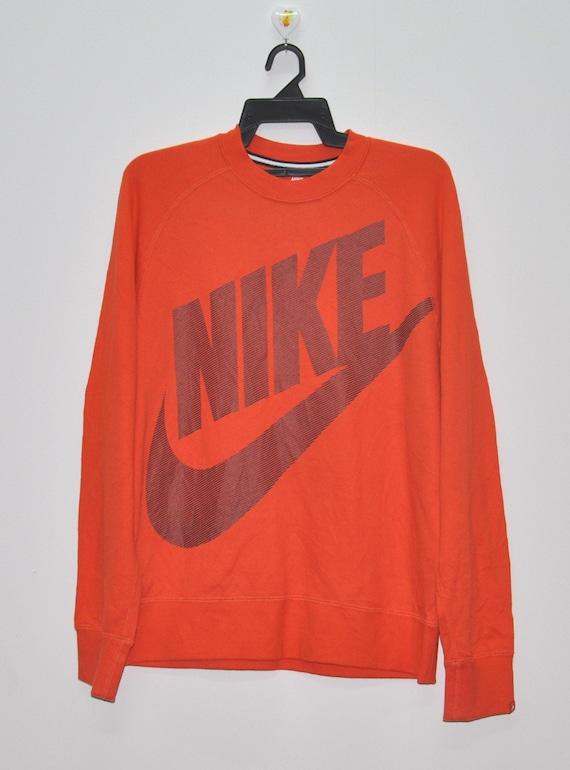 Vintage 90's Nike Sweatshirt Crewneck Sweater Big Logo Spell Out Orange Color Size XL