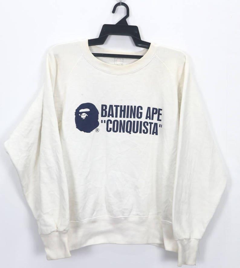 4b5a007c8e0 Vintage Bathing Ape Bape Baby Milo Sweatshirt Conquista White
