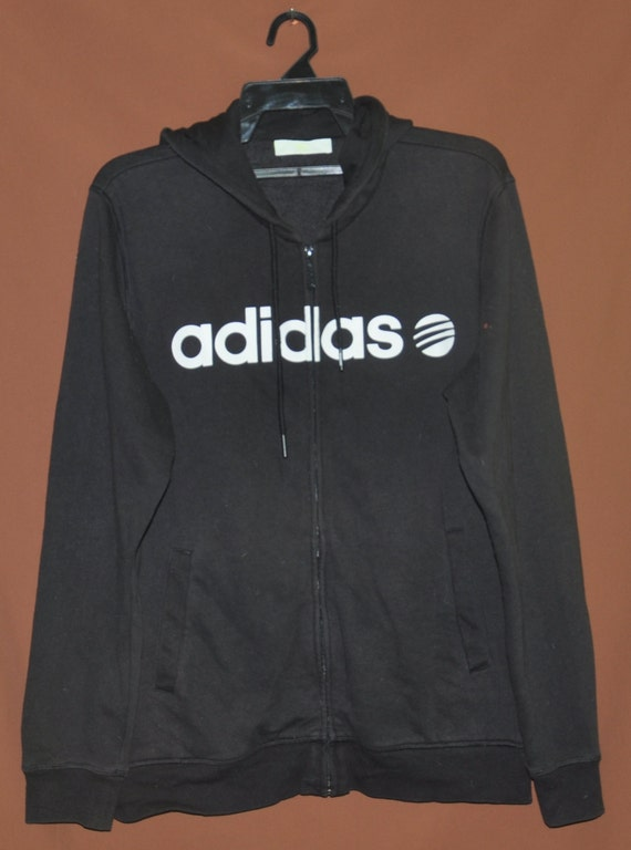 Vintage ADIDAS Neo Hoodie Men Big Logo Hip Hop Run Dmc Sweater Hooded Sweatshirt Size Medium