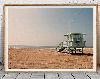 Beach Wall Photography, Beach Wall Print, Lifeguard Tower, Sea Wall Art Decor, Ocean Photography Print, Beach Print Art, Landscape Art Photo