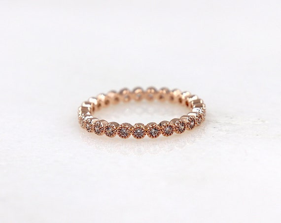 rose gold-plated ring set with shiny zircons, rose gold plated wedding ring