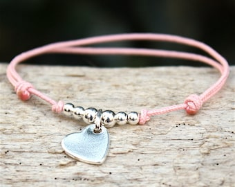 beaded bracelet and silver heart 925 cord of your choice