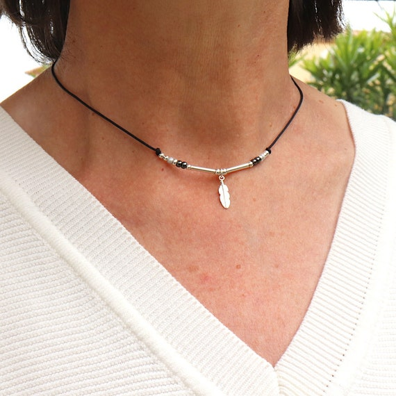 Feather cord necklace rushes and silver beads 925 woman