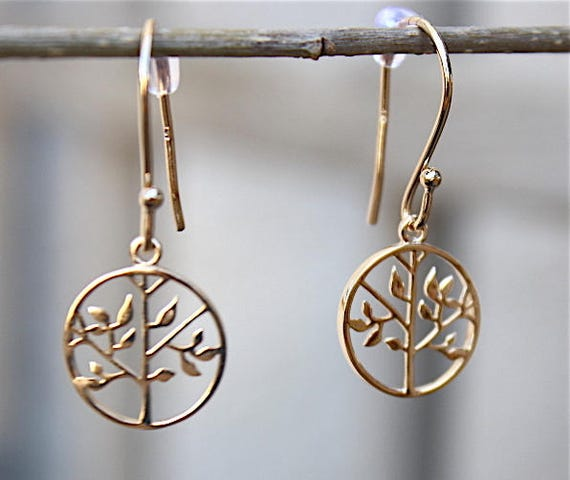 Gold-plated earrings tree of life 3 microns 18 ct