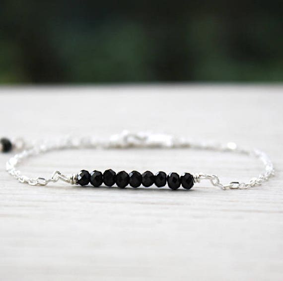 Bracelet chain Silver 925 and faceted black spinel gems