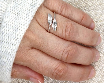 925 silver feather ring