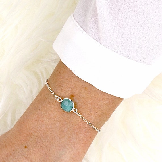 silver chain bracelet stone amazonite faceted woman