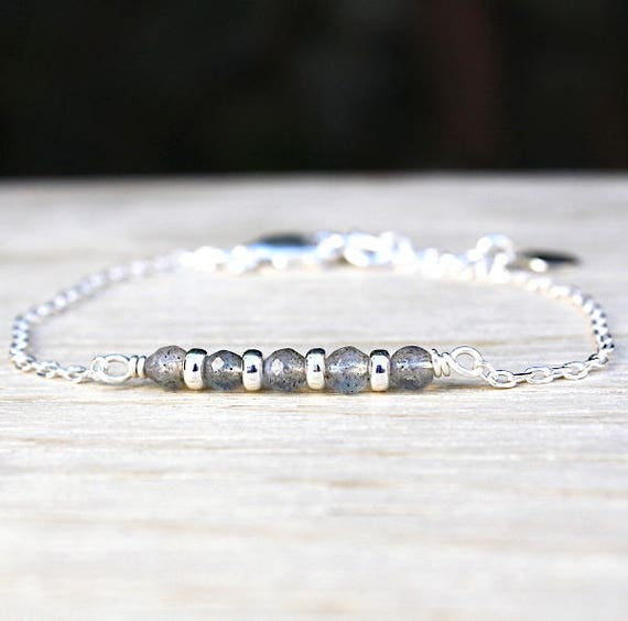 Bracelet gemstones labradorite and silver rings 925 on chain