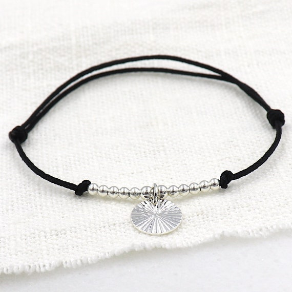 bracelet cord medal streaked and silver beads 925 for women