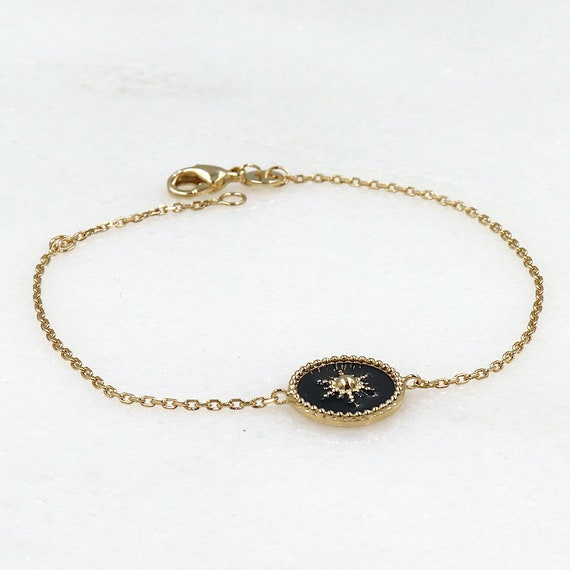 women's bracelet black medal sun on gold-plated chain