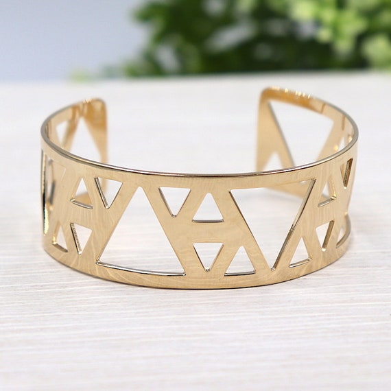 gold plated triangle women cuff Bangle Bracelet