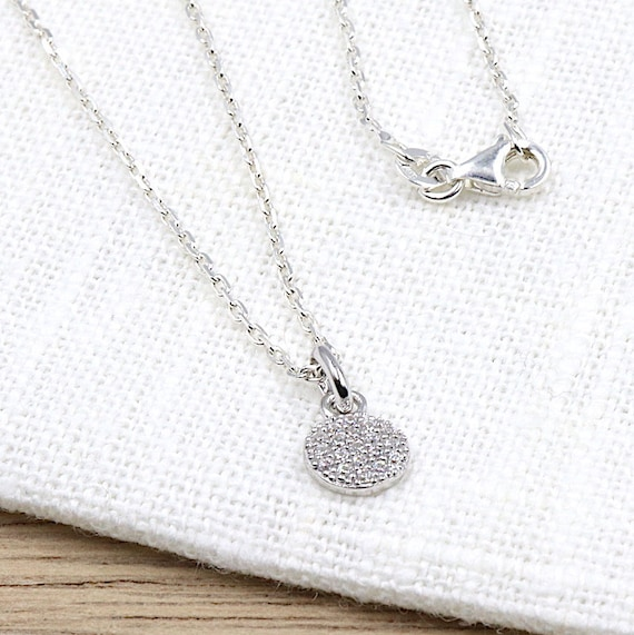 925 solid silver round pendant necklace and chain zircons