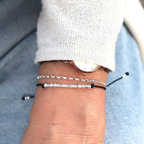 Women's cord bracelet double rows streaked rush and silver chain 925
