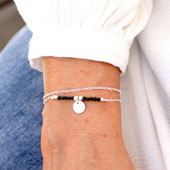 bracelet chains double solid silver and black spinel stones, gift bracelet women