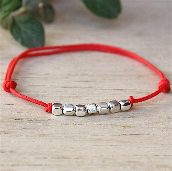 Bracelet cord bracelet 925 sterling silver cord beads square