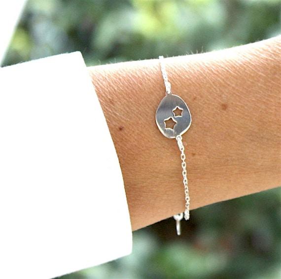 women plate openwork on string star bracelet 925 sterling silver