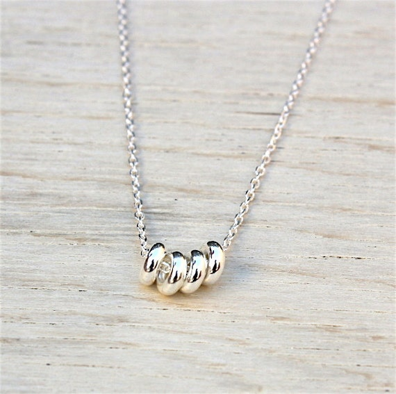 silver donuts necklace 925 on chain