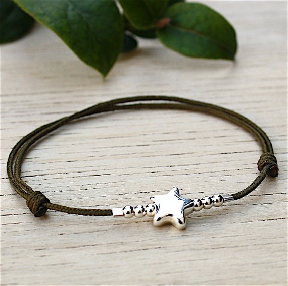 Bracelet 925 sterling silver cord star and pearls