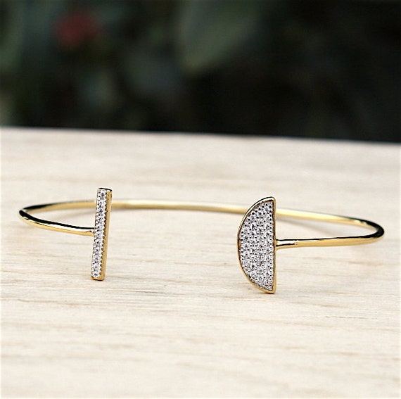 gold plated Bangle Bracelet Moon and zircons