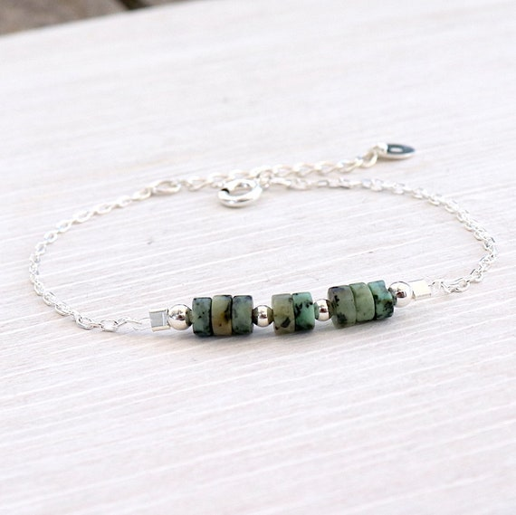 bracelet chain silver solid African turquoise stone, bracelet woman gemstones, gift woman