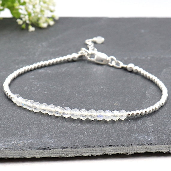Bracelet moonstones and pearls for women 925 Silver