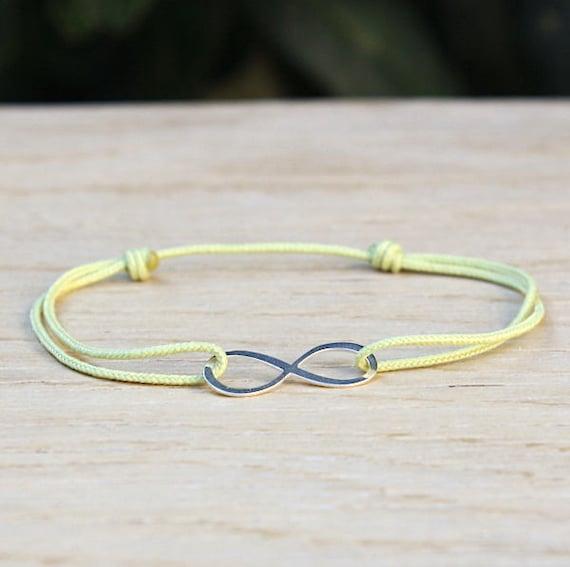 Silver infinity bracelet massive choice of string