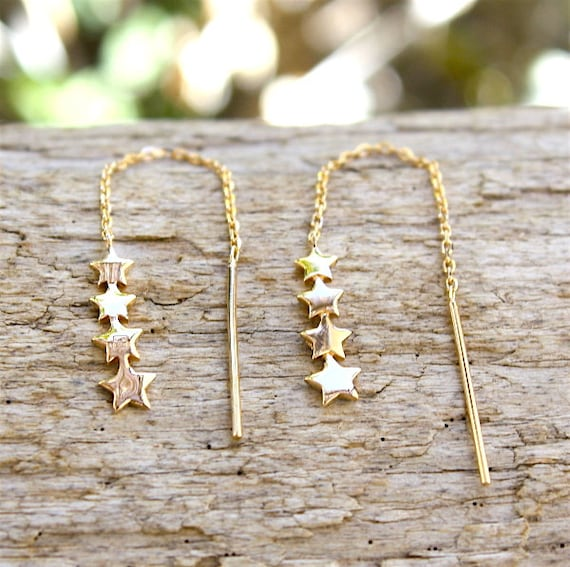 Gold-plated chain earrings and stars 3 microns 18 ct