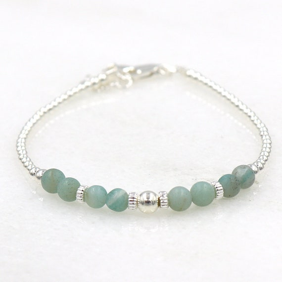 925 silver beaded bracelet and round stones amazonite woman