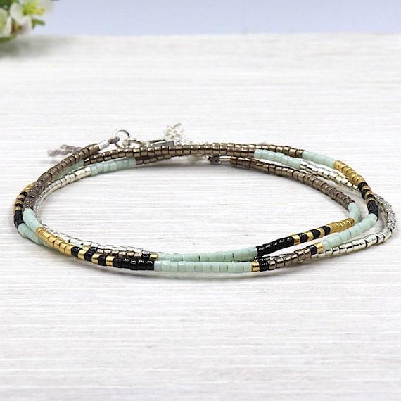 with water green miyuki Beads Bracelet three towers