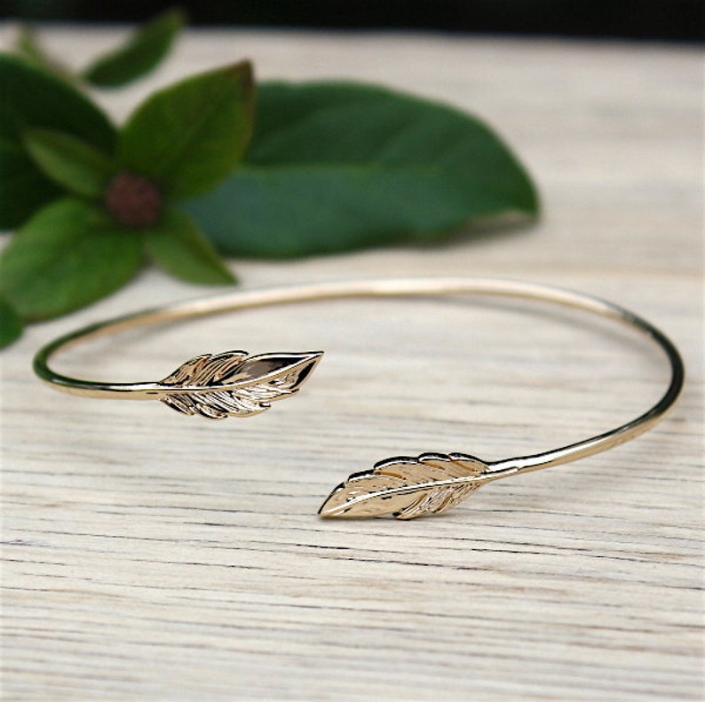 Bangle Bracelet gold plated feather 750 thousandth