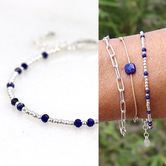 925 silver beaded bracelet and lapis lazuli women faceted stones