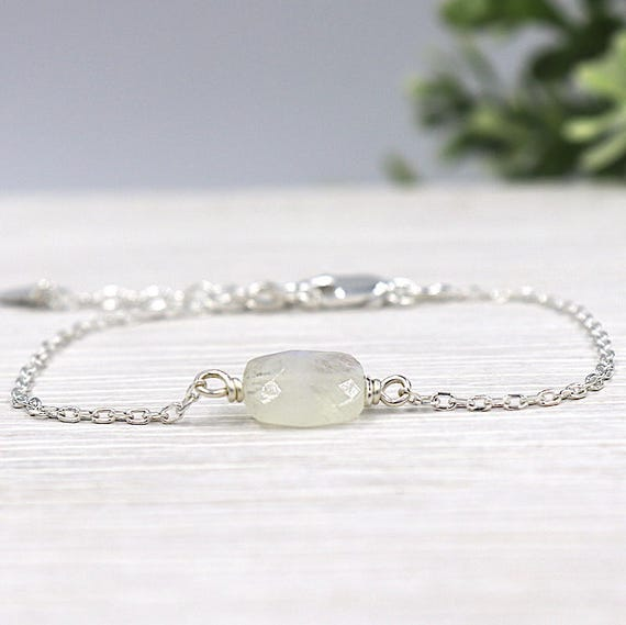 Moonstone faceted chain bracelet