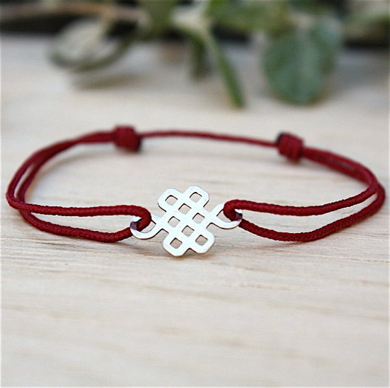 Bracelet choice of string and knot Chinese Sterling Silver 925
