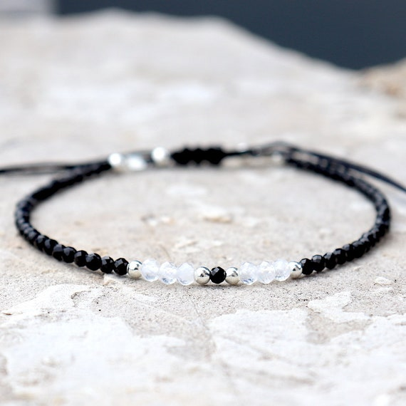 fine cord bracelet moonstones and black agates faceted woman