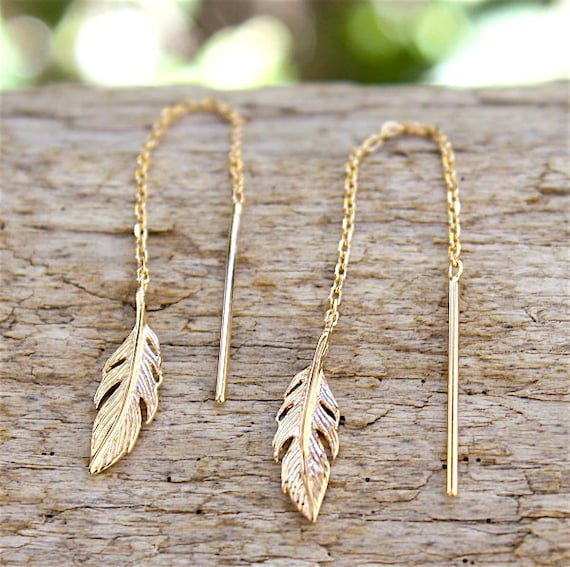 gold plated chain and earrings feather 18 ct 3 microns