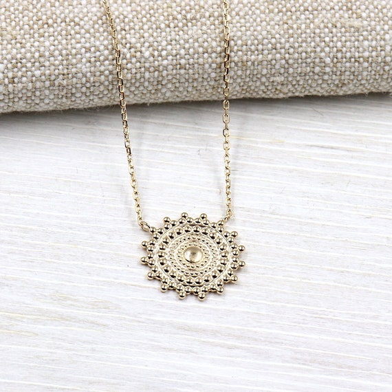 women gold plated Sun pendant necklace