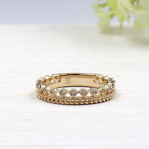 gold plated Crown and cubic zirconia women ring
