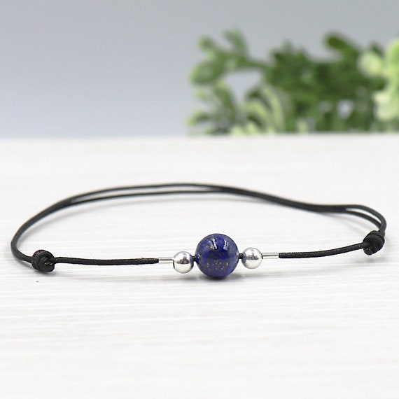 Bracelet women stone lapis lazuli round bead