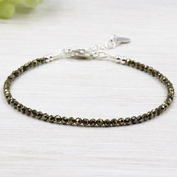 Bracelet fine woman faceted pyrite gem stones