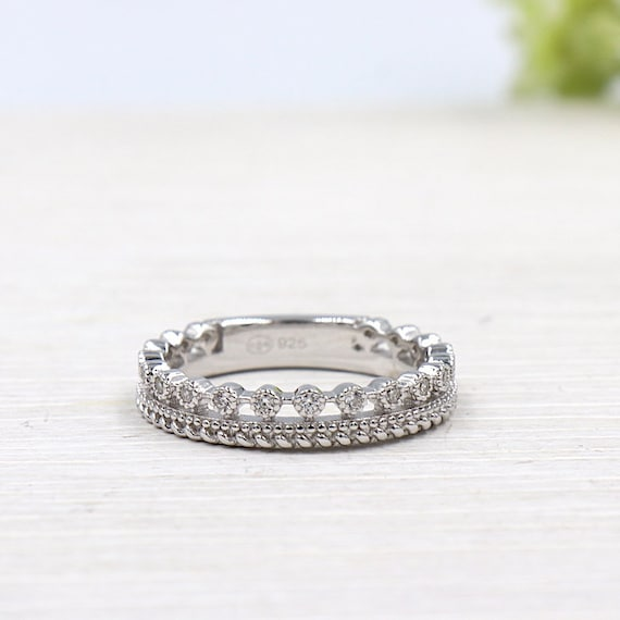 model cubic zirconia and 925 sterling silver women ring Crown