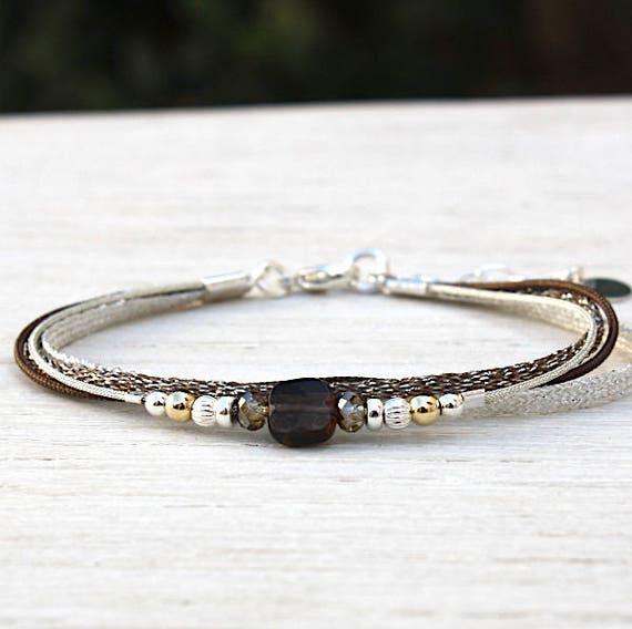Multi strands String Bracelet swarovski pearls and smoky quartz gemstones