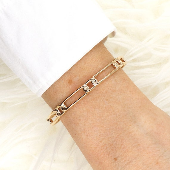 bracelet jonc links rectangles plated gold for women