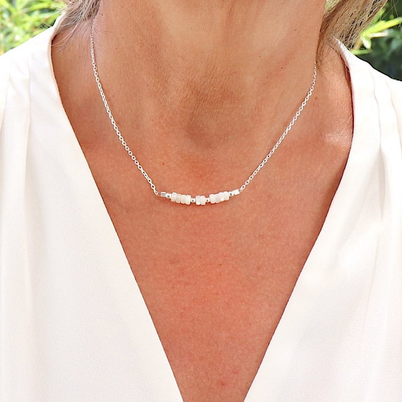 Pearl necklace in mother-of-pearl on solid silver chain, silver neckless for women