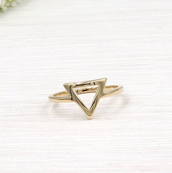 gold-plated triangle ring for women