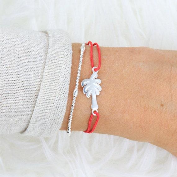 silver palm cord bracelet 925 for women