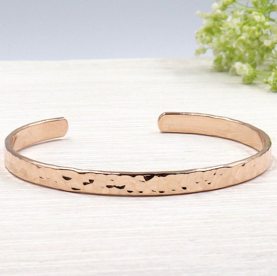 plated hammered Bangle Bracelet rose gold 750/1000