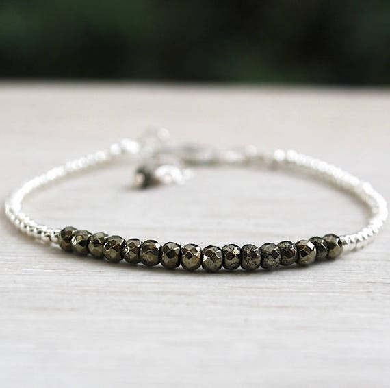 Bracelet 925 sterling silver beads and pyrite gemstones